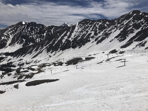 A-Basin in June 2017: a few bare spots surrounded by tons of skiable terrain.